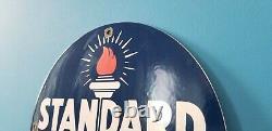 Vintage Standard Gasoline Porcelain Gas Fuel Oils Service Station Torch Sign