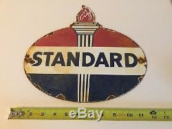 Vintage Standard Gasoline Porcelain Gas Oil Service Station Rack Pump Plate Sign