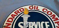 Vintage Standard Gasoline Porcelain Gas Service Station Pump Plate Sign