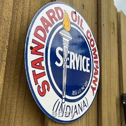 Vintage Standard Oil Service Porcelain Metal Sign USA Indiana Torch Gas Station