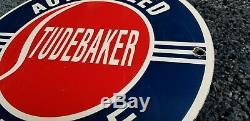 Vintage Studebaker Gasoline Porcelain Sign Gas Service Station Automobile Ad