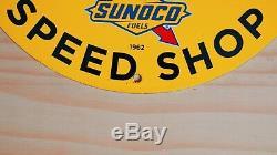 Vintage Sunoco Gasoline Porcelain Sign Service Station Gas Oil Pump Plate Rare