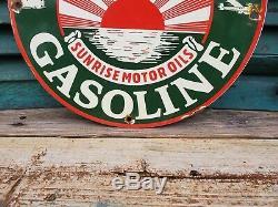 Vintage Sunset Gasoline Porcelain Gas Auto Oil Service Station Pump Plate Sign