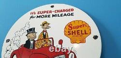 Vintage Super Shell Gasoline Porcelain Gas Service Station Mutt & Jeff Pump Sign