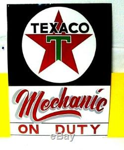 Vintage TEXACO Mechanic on Duty Gas Oil Service Station Shop Hand Painted SIGN