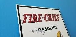 Vintage Texaco Fire Chief Gasoline Porcelain Service Station Gas And Oil Sign