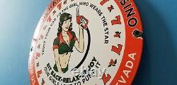 Vintage Texaco Gasoline Porcelain Casino Gas Oil Route Service Station Pump Sign