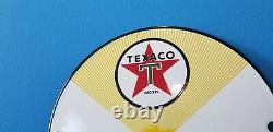 Vintage Texaco Gasoline Porcelain Fuel Chief Gas Motor Service Station Pump Sign