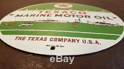Vintage Texaco Gasoline Porcelain Gas Marine Service Station Pump Plate Sign