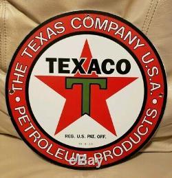 Vintage Texaco Gasoline Porcelain Sign Gas Oil Service Station Pump Plate Rare