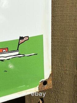Vintage Texaco Marine Lubricant Porcelain Sign Gas Service Station Advertising