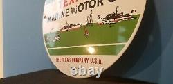 Vintage Texaco Marine Porcelain Gas Motor Service Station Pump Plate Sign