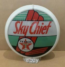 Vintage Texaco Sky Chief Gas Pump Globe Light Glass Lens Service Station 2
