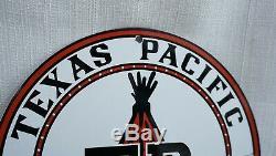 Vintage Texas Pacific Porcelain Sign Gas Oil Metal Service Station Pump Plate