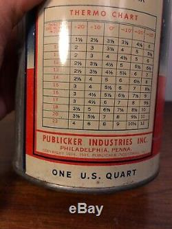 Vintage Thermo Anti Freeze Full Qt Gas Service Station Snowman Oil Tin Can 40s