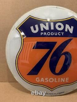 Vintage Union 76 Gas Pump Globe Light Glass Lens Service Station Garage Sign 1