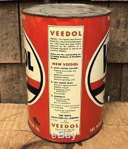 Vintage VEEDOL Motor Oil Tide Water Gas Service Station 5 Qt Metal Can Sign