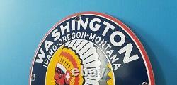 Vintage Washington Gasoline Porcelain Gas Oil Service Station Pump Plate Ad Sign
