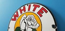 Vintage White Rose Gasoline Porcelain Texas Gas Service Station Pump Plate Sign