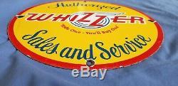 Vintage Whizzer Bike Motorcycle Porcelain Gas Service Station Pump Plate Sign