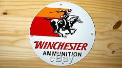 Vintage Winchester Porcelain Sign Gas Oil Pump Plate Service Station Cowboy Gun