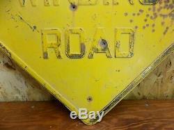 Vintage embossed winding road sign 1930 1940s 1950 rat rod service station gas