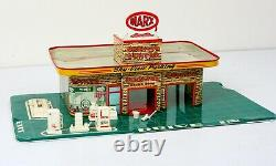 Vtg 50s Marx Tin Litho Sky-View Parking Service Center Gas Station w Accessories
