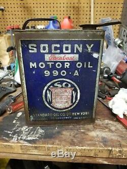 1 Gallon Socony Standard Service Motor Oil Can Station Ford 909a Parabase