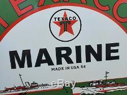 1954 Texaco Marine Motor Oil Porcelain Sign Station Service Gaz Connectez-outboard