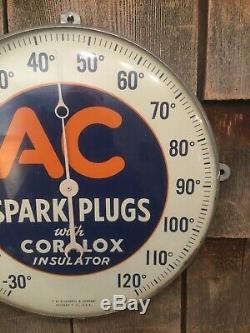Ac 1950 Bougies Service Station Gaz Auto Publicité En Verre Thermomètre Connexion