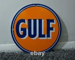 Ancienne Enseigne De Porcelaine Du Golfe Gas Station De Service De Moteur Plaque De Pompe Huile Rare Ad