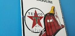Ancienne Enseigne Texaco Fire Chef Essence Station-service De Porcelaine Essence Et Pétrole