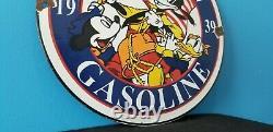 Ancienne Essence Américaine Porcelaine Gaz Walt Disney Service Station Pump Sign