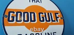 Ancienne Essence Du Golfe Station De Service D'essence De Porcelaine Plaque D'huile