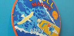 Ancienne Essence Essence Porcelaine Gas Marine Boat Service Station Plaque De Pompe