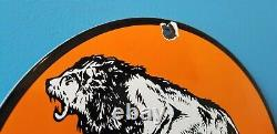 Ancienne Essence Lion Essence Porcelaine Gaz Moteur Oil Auto Station De Service Pompe Signe