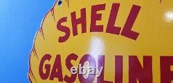 Ancienne Essence Shell Station De Service D'essence De Porcelaine Plaque De Pompe Clam Shape Signe