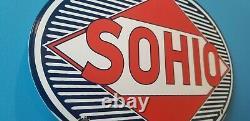 Ancienne Essence Sohio Porcelaine Ohio Station De Service De Gaz Pompe Automobile Signe