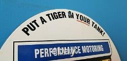 Ancienne Esso Essence Porcelaine Gaz Tiger Station De Service Plaque De Pompe