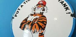 Ancienne Esso Esso Essence Gaz De Porcelaine Auto Tiger Station De Service Plaque De Pompe