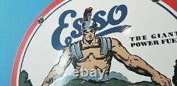 Ancienne Esso Esso Essence Gaz De Porcelaine Station De Service D'huile De Moteur Plaque Signalétique