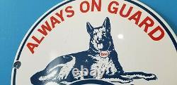 Ancienne Esso Esso Essence Porcelaine Gas Guard Chien Service Station Plaque De Pompe