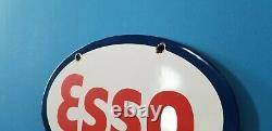 Ancienne Esso Esso Essence Station De Service De Gaz De Porcelaine Plaque De Pompe Plaque Métallique