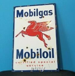 Ancienne Station De Service D'essence De Porcelaine D'essence Mobil Pompe Pegasus Sign