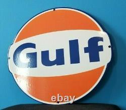Ancienne Station De Service D'essence De Porcelaine De Gulf Plaque De Pompe Grand Panneau