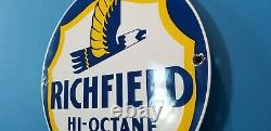 Ancienne Station De Service D'essence De Porcelaine De Richfield Plaque De Pompe Automatique