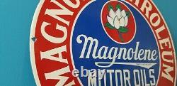 Ancienne Station De Service D'essence De Porcelaine Magnolia Plaque Signalétique