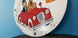 Ancienne Station De Service D'essence De Porcelaine Super Shell Mutt & Jeff Pump Sign