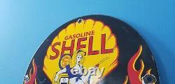 Ancienne Station De Service De L'essence De Porcelaine Shell Clam & Flames