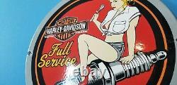 Ancienne Station De Service De Porcelaine De Moto Harley Davidson Spark Gas Pump